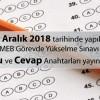 MEB Görevde Yükselme Sınavı Soru Cevap Anahtarları yayınlandı.